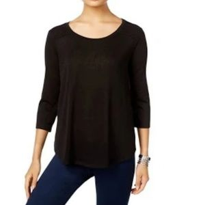 Style & Co Pullover Top Lace Trim Black